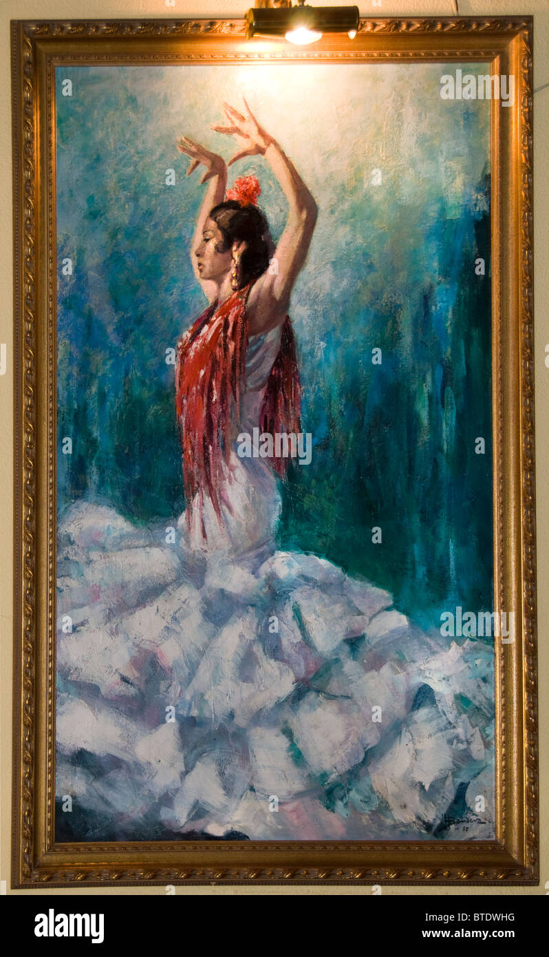 cb6395349214 Seville Spain Andalusia antique shop painting Flamenco dancer woman ...