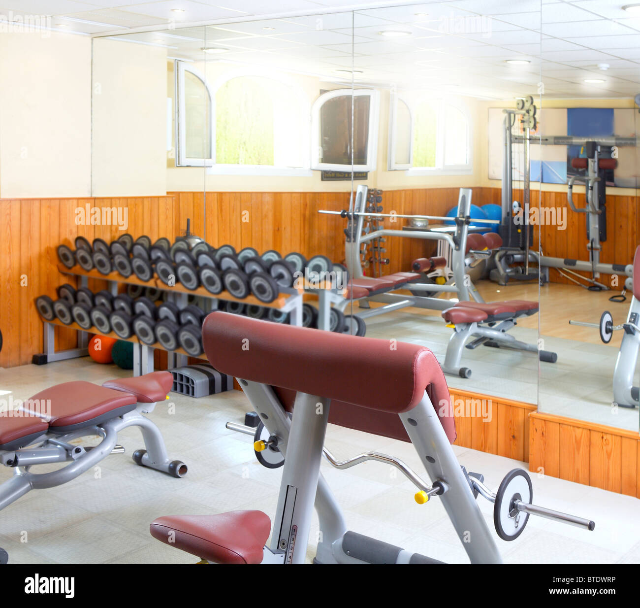 Strange Gym Interior Body Building Weight Exercise Room Wooden Wall Bralicious Painted Fabric Chair Ideas Braliciousco