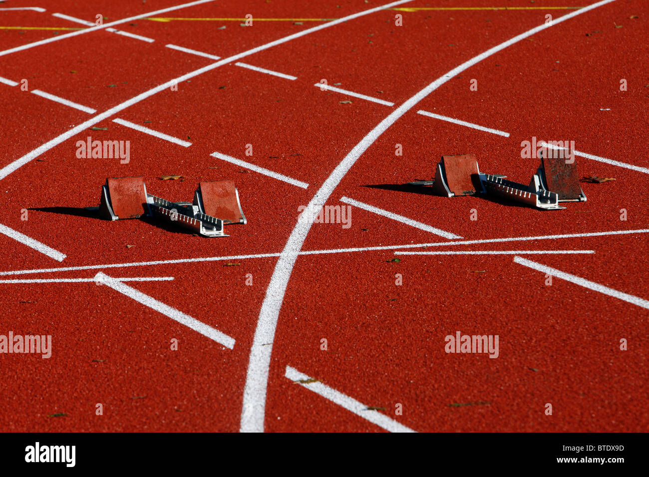 Sports area, running track, red tartan track. - Stock Image