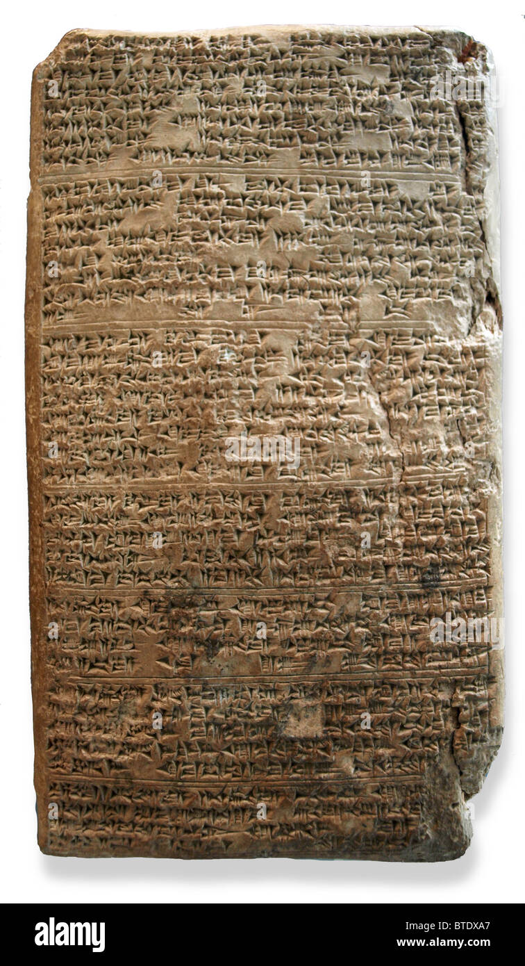 5471. El Amarna letter (WAA 29791). Cuneiform tablet from Tushratta king of Mitanni dating c. 1350  BC. The letter - Stock Image