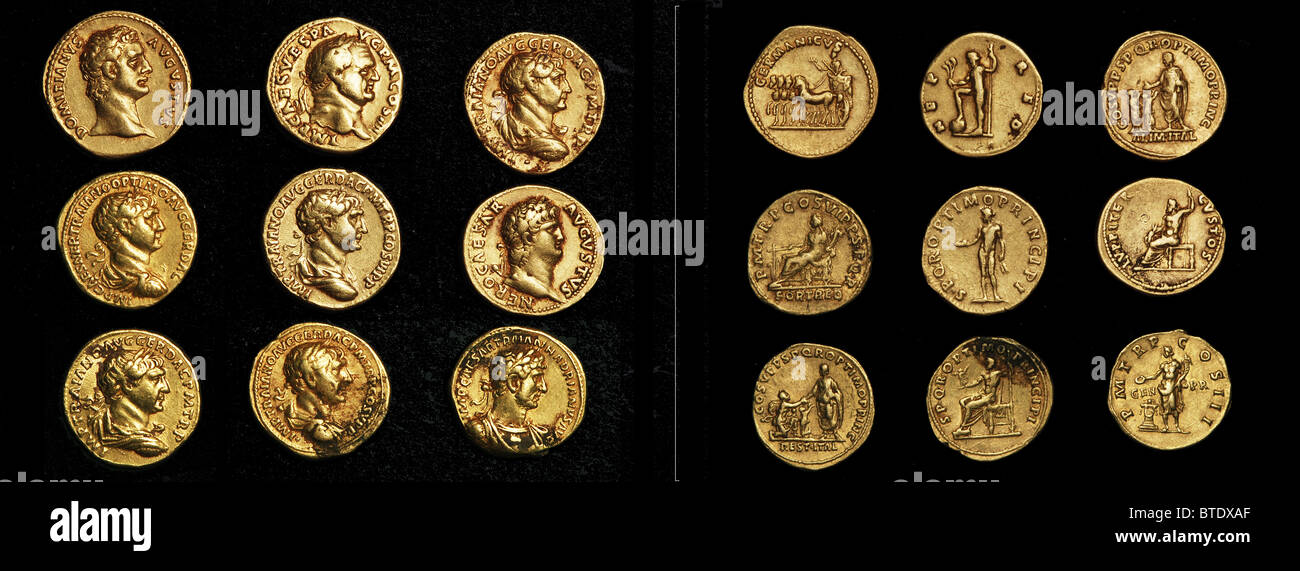 5472. Imperial Roman gold coins bearing busts of the varrious Emperors. Face and obverse - Stock Image