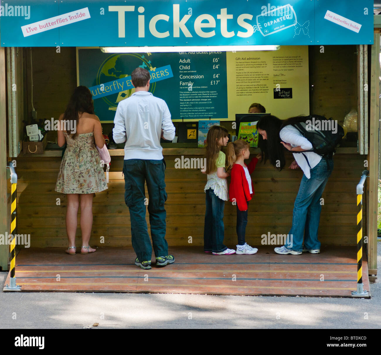 The Ticket office for 'Butterfly Explorers' at the Natural History Museum, London, UK - Stock Image