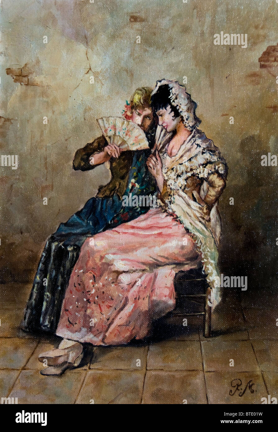 748f422f33ea Seville Spain Andalusia women antique shop painting fan Stock Photo ...