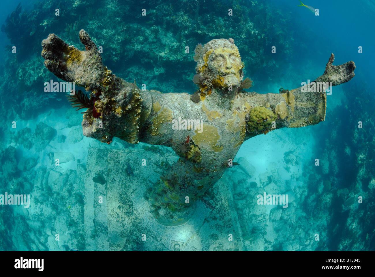 Christ of the Abyss statue off Key Largo coast, Florida, USA Stock Photo