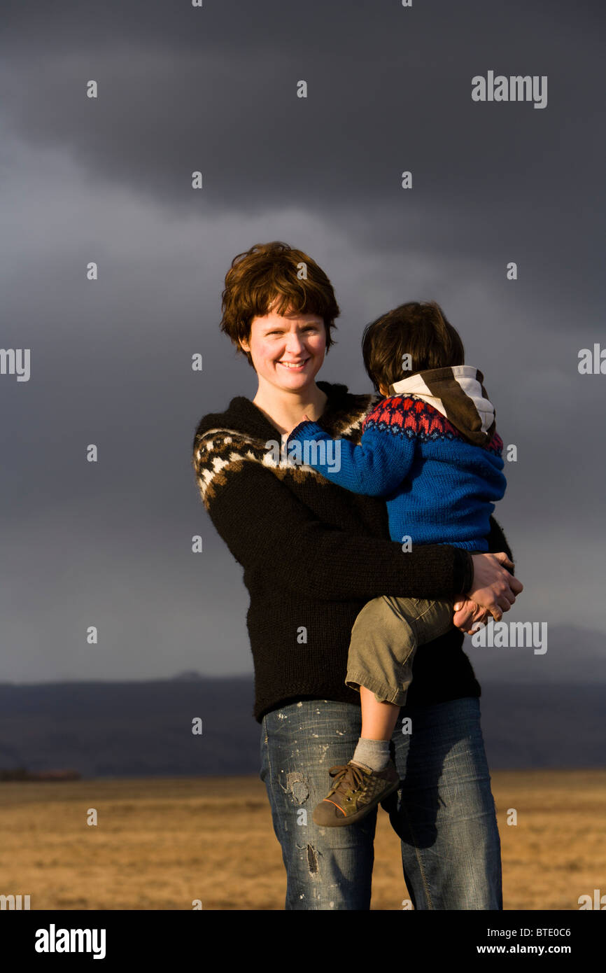 Mother and son, South Iceland. - Stock Image
