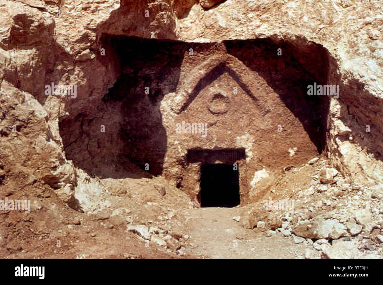 5366. The Talpiot Tomb in Jerusalem in which 10 ossuaries were found. - Stock Image
