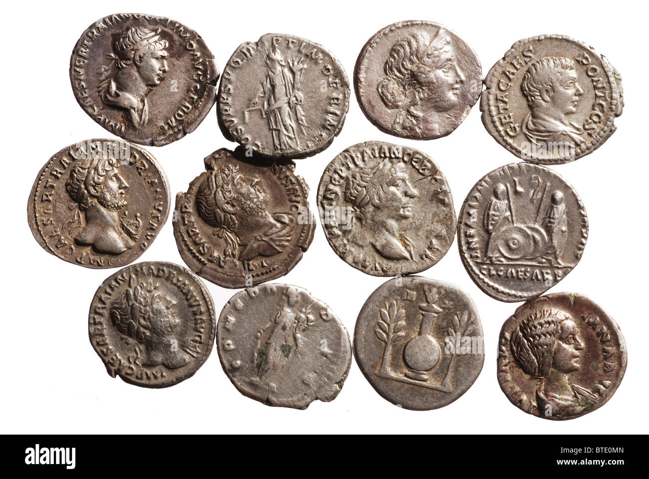 5402. Roman Imperial silver Denarii, ca. 1st -3rd cent AD, the standard coin of the Empire depicting different emperors - Stock Image