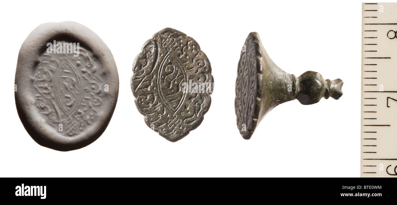 5441. Ottoman (Turkish) period seal dating from c. 18th. C. found in Jerusalem. Picture shows two angles of the - Stock Image