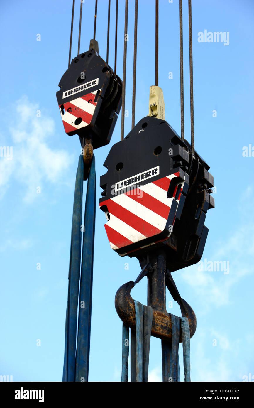 2 big crane hooks, of a mobile crane. - Stock Image