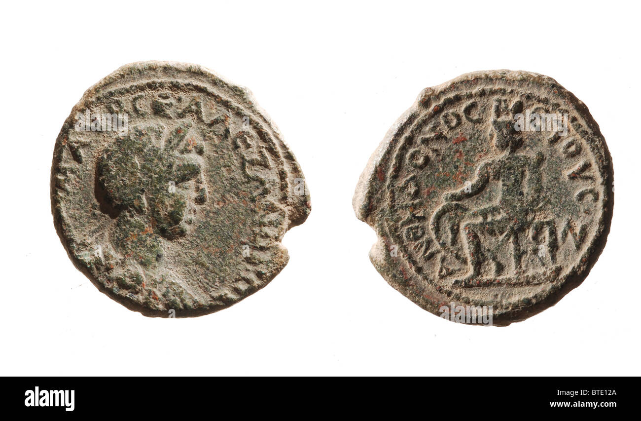 5498. Coin of Emperor Alexander Severus , Roman emperoe from 222- to 35 AD - Stock Image