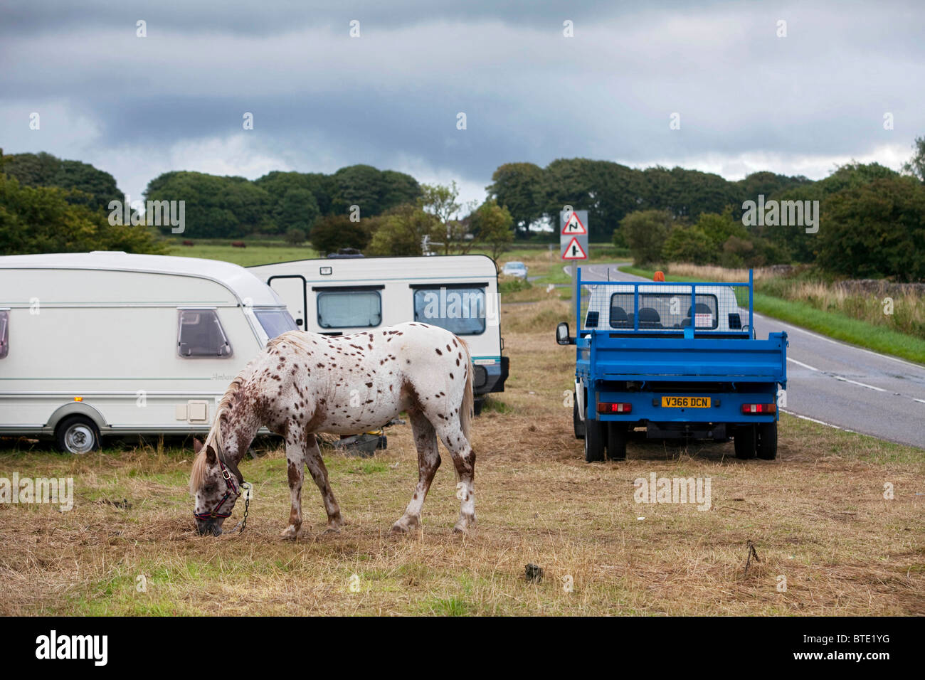 Priddy Sheep Fair is a highlight in the calendar for the gypsy community giving these families a place to stop. - Stock Image