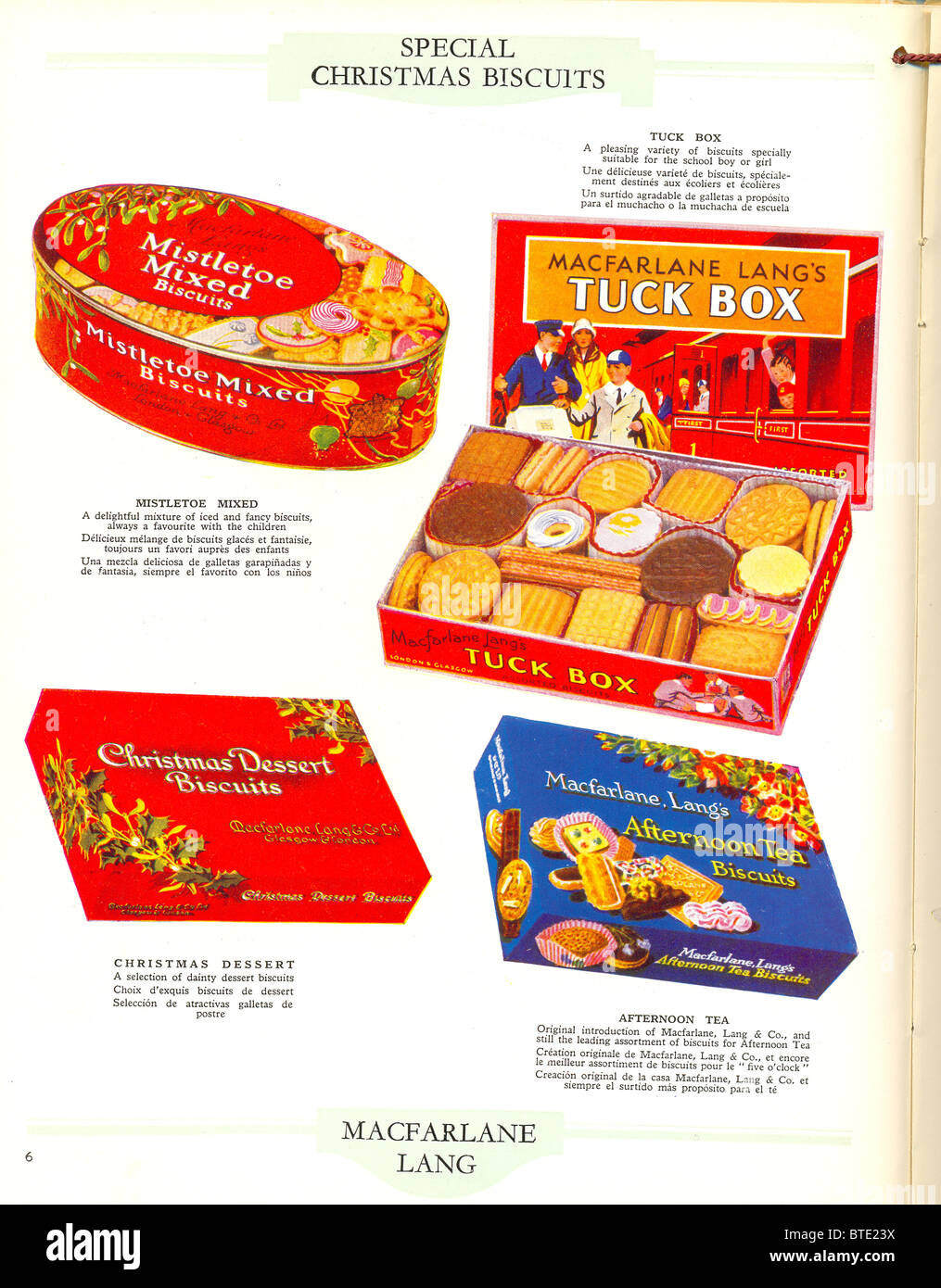 Special Christmas Biscuits from Macfarlane Lang's  catalogue - Stock Image