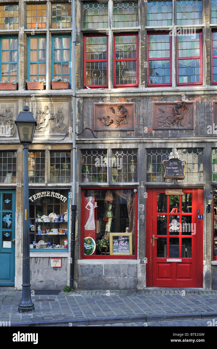 The shop Temmerman and bistro De Hel / The Hell at Ghent, Belgium - Stock Image