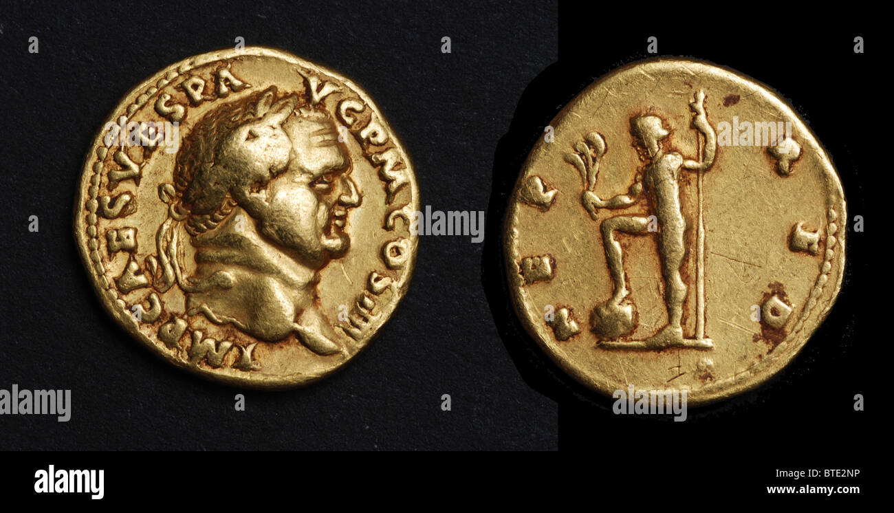5476. Roman imperial gold coin with the bust of Emperor Vespasianus. V. ruled from 69 to 79 AD and the conquest - Stock Image