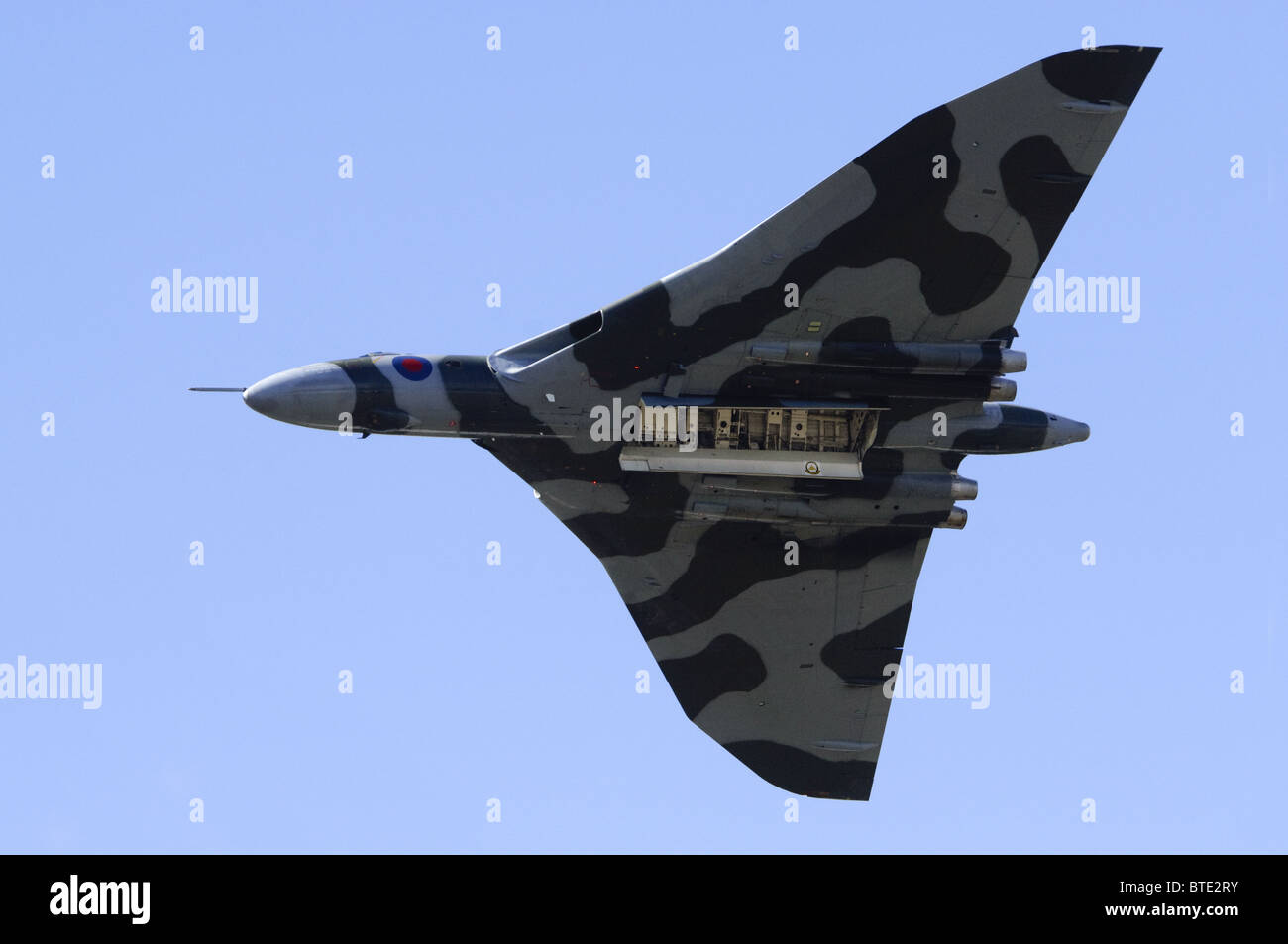 Avro Vulcan bomber making a flypast with bomb bay doors open at Farnborough Airshow 2010 & Avro Vulcan bomber making a flypast with bomb bay doors open at ...
