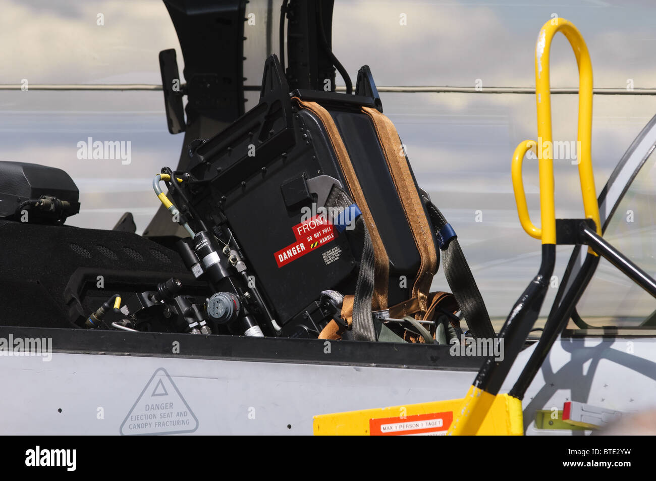Ejector seat on a Saab 39 Gripen NG Demo in the static display at Farnborough Airshow 2010 - Stock Image