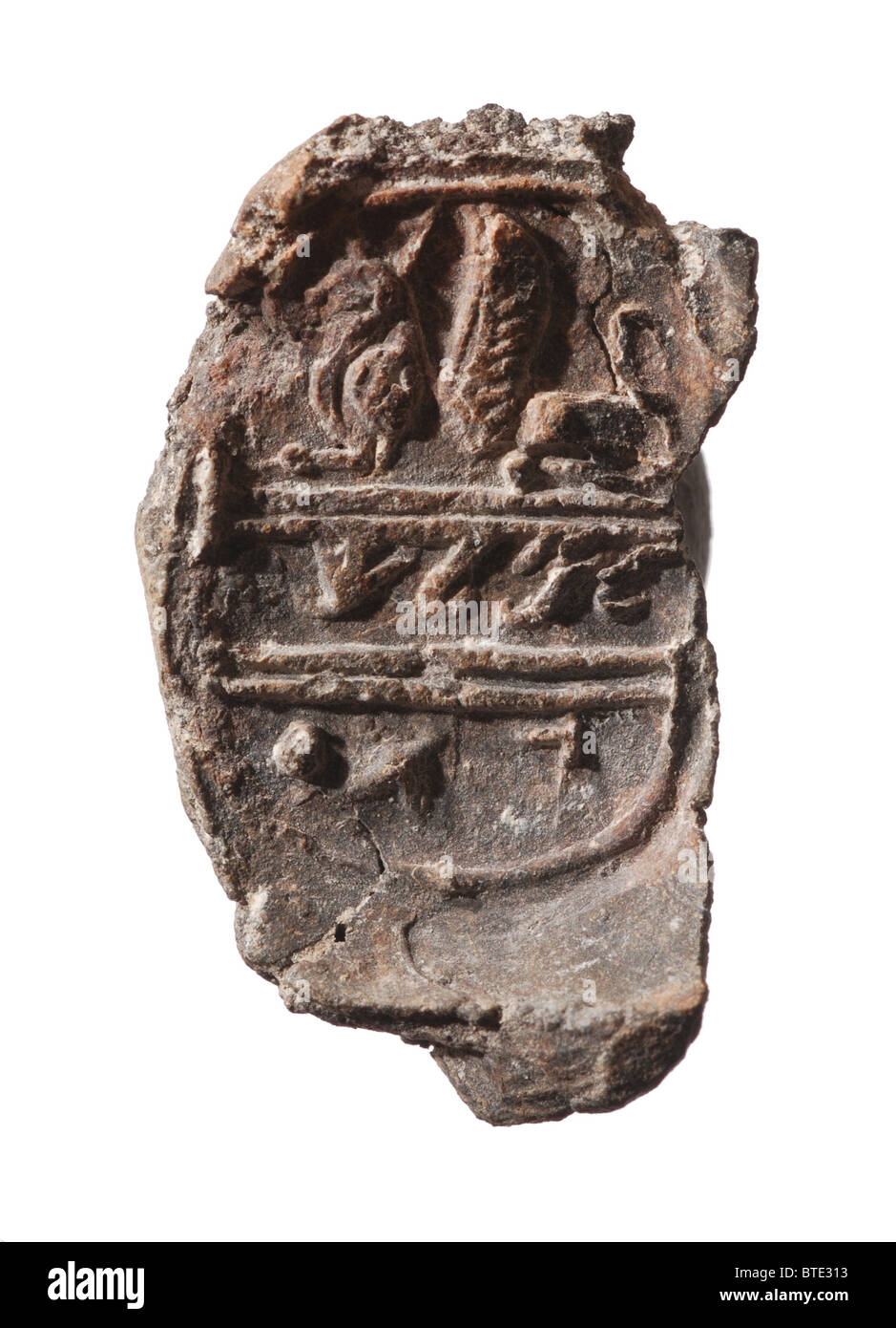 5389. Clay bullah (seal impression) inscribed in ancient Hebrew 'L'Meleh Gat' (belonging) to the king - Stock Image