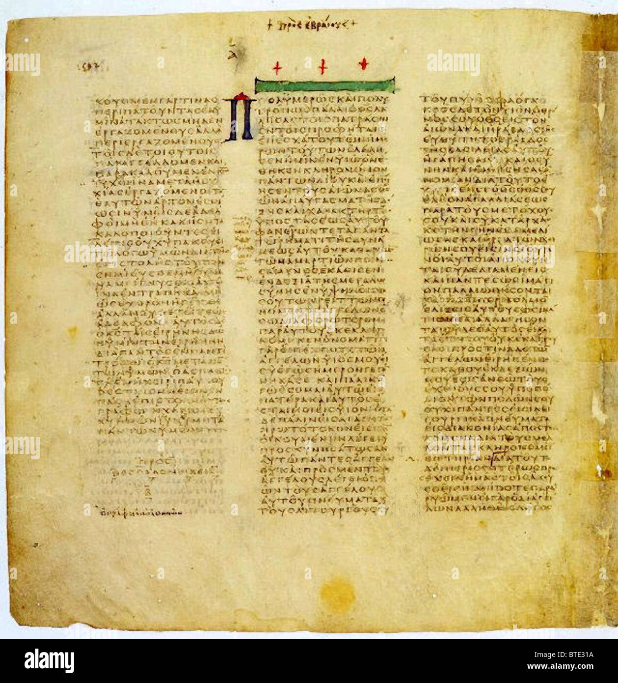 5396. Codex Sinaiticus is a 4th century manuscript of the Greek Bible, written between 330–350. Originally it contained - Stock Image