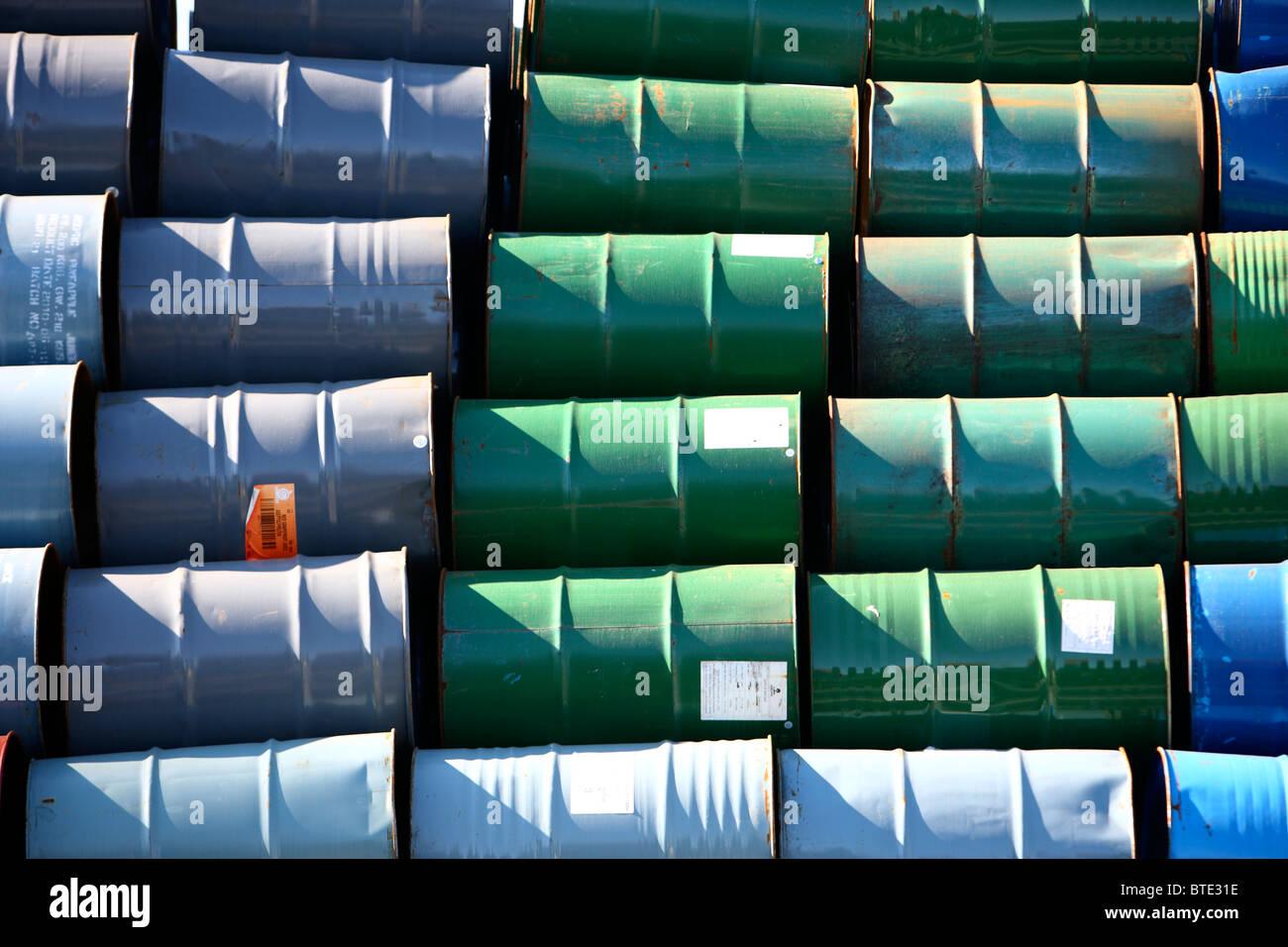 Used steel barrels, in stock. Stock Photo