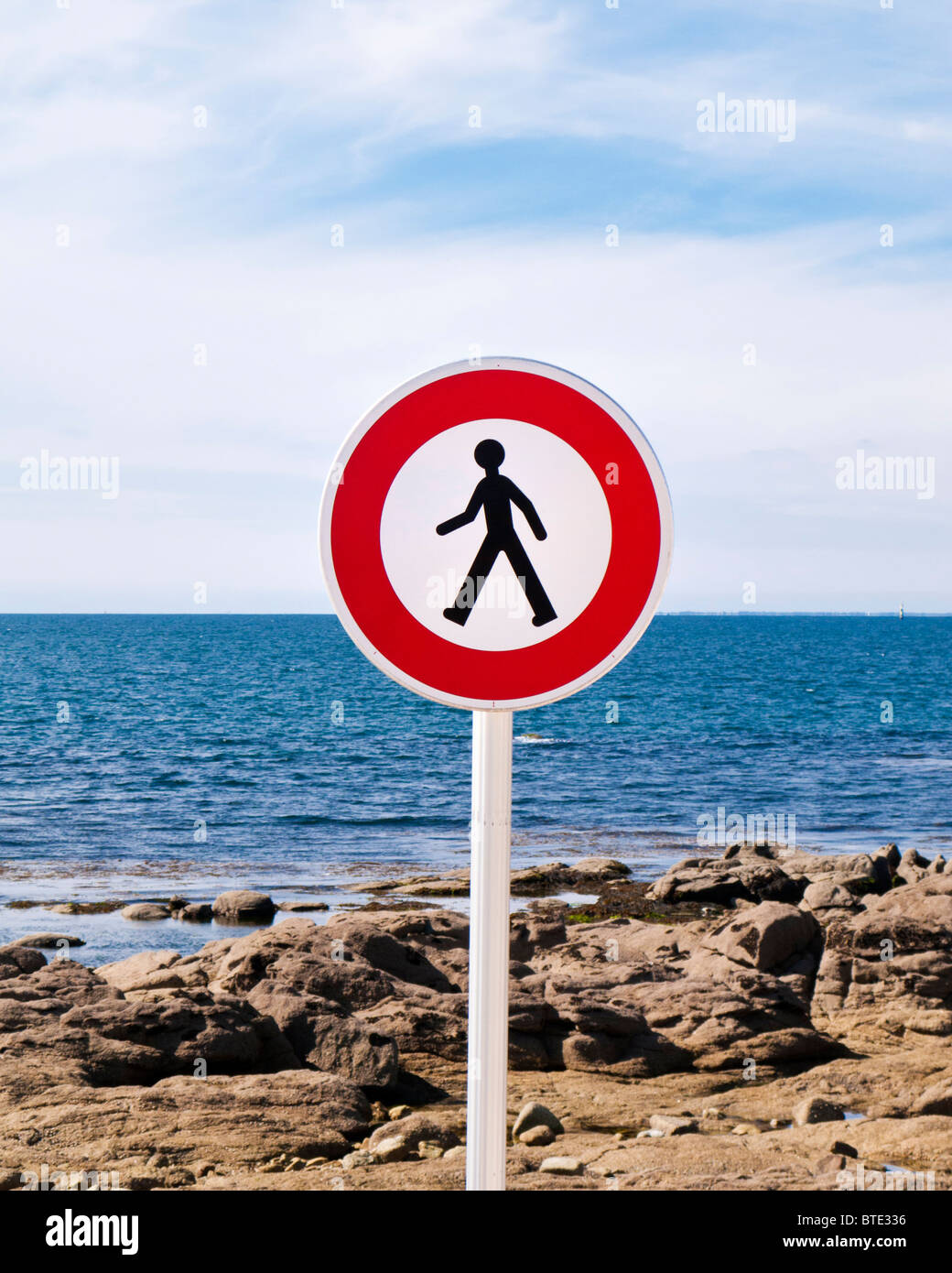 Pedestrian sign by the sea in France Europe - Stock Image