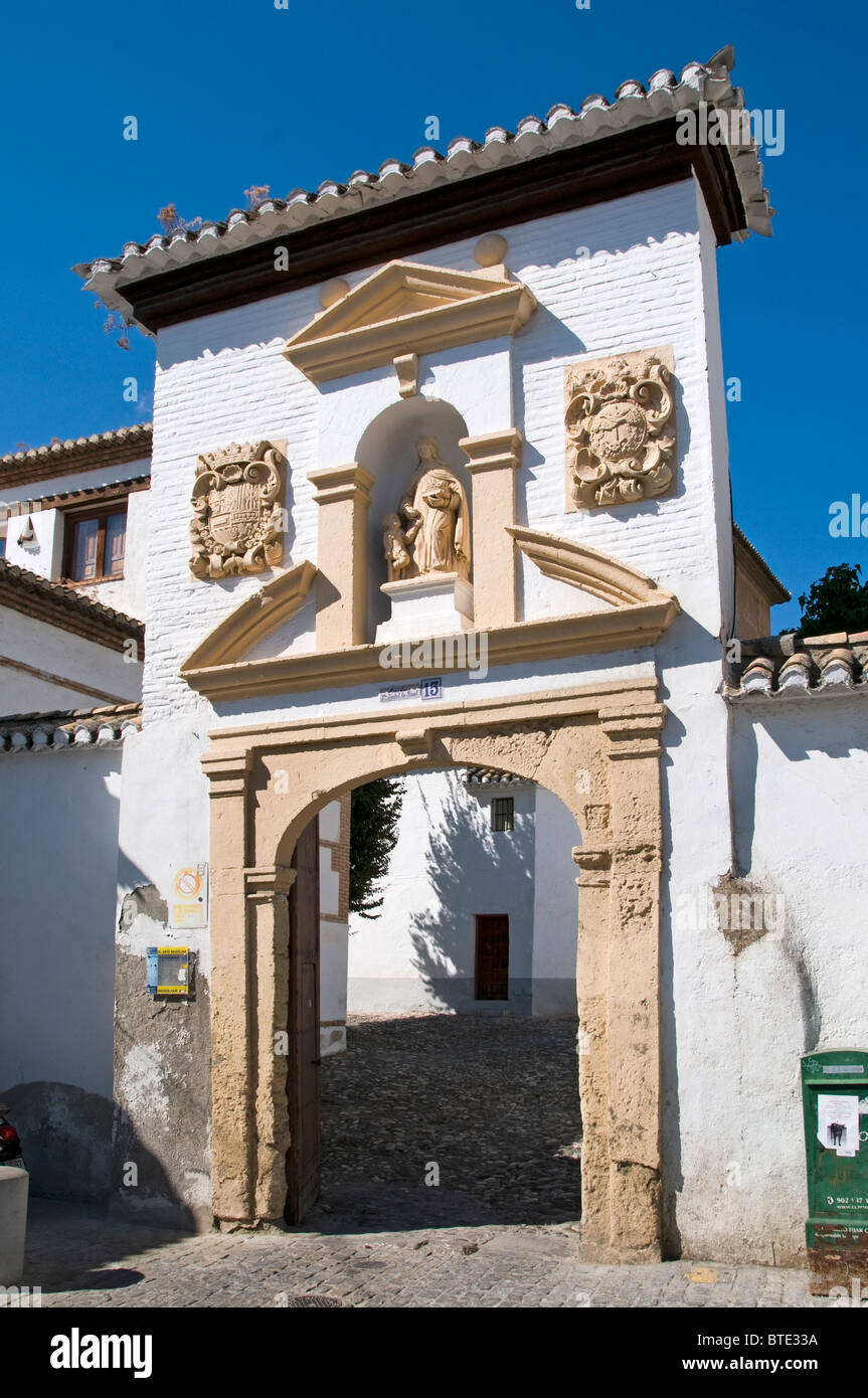 Granada town city historic center Spain Andalusia Monastry  Monasterio de Santa Isabel La Real Stock Photo