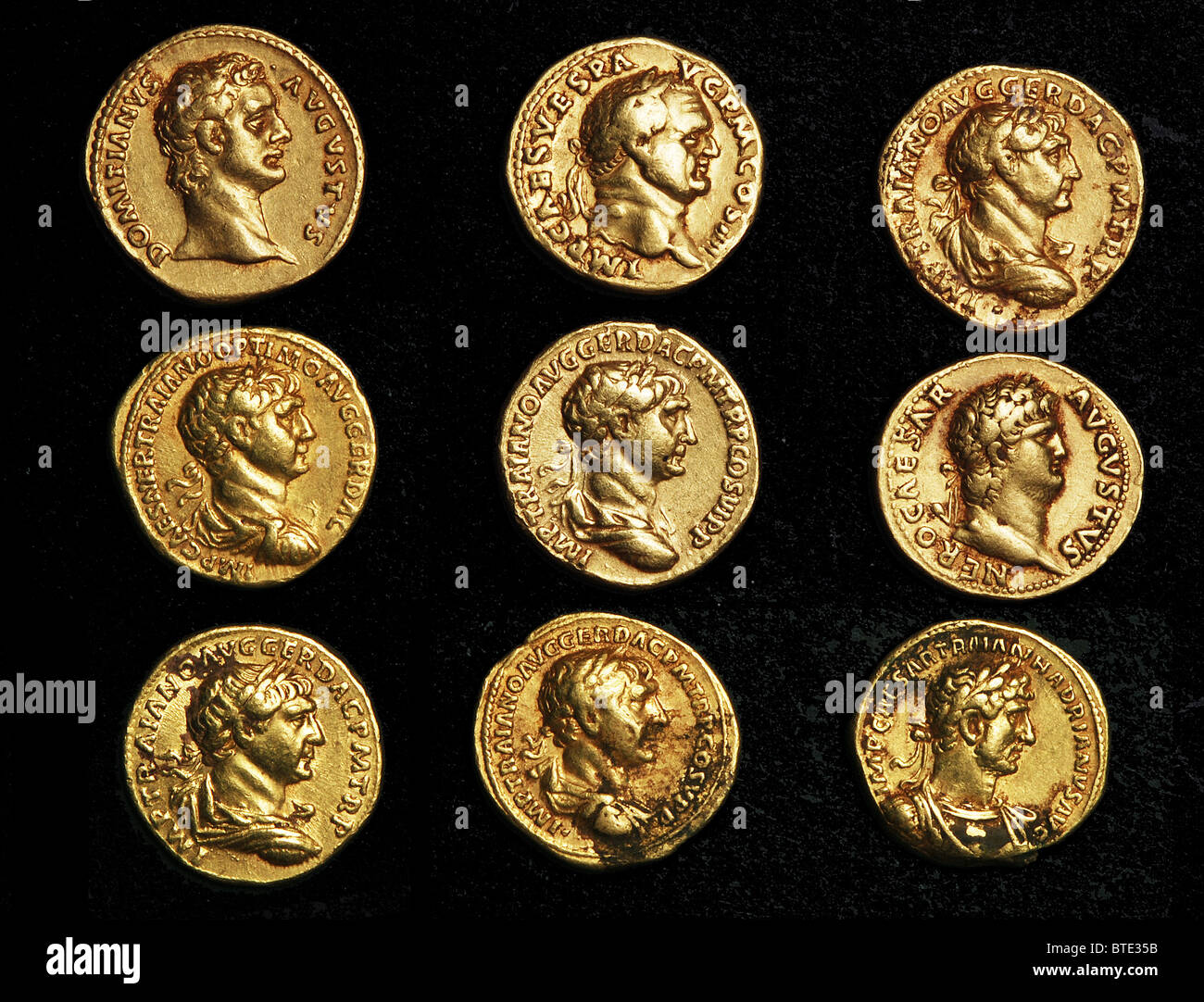 5473. Imperial Roman gold coins bearing busts of the varrious Emperors. - Stock Image