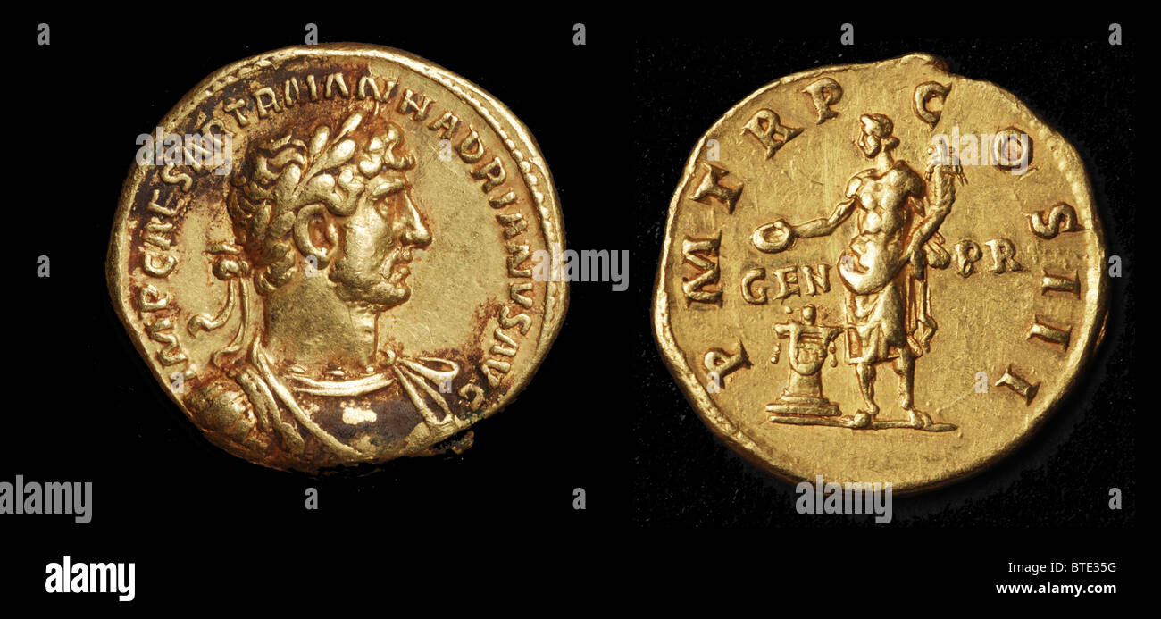 5477. Roman imperial gold coin with the bust of Emperor Hadrianus  H. ruled from 117 to 138 AD.. - Stock Image