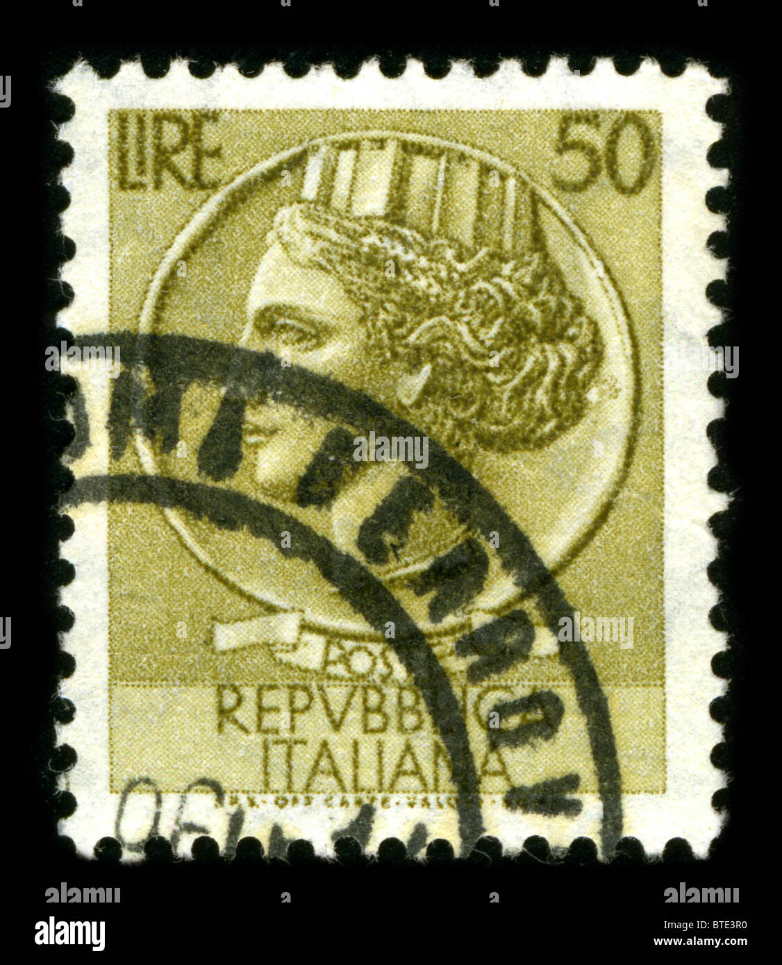 ITALY - CIRCA 1959: A stamp printed in ITALY shows image of the dedicated to the Republica Italiana circa 1959. Stock Photo