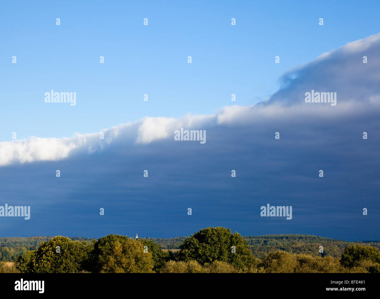 Cold weather front approaching with stormy sky - Stock Image