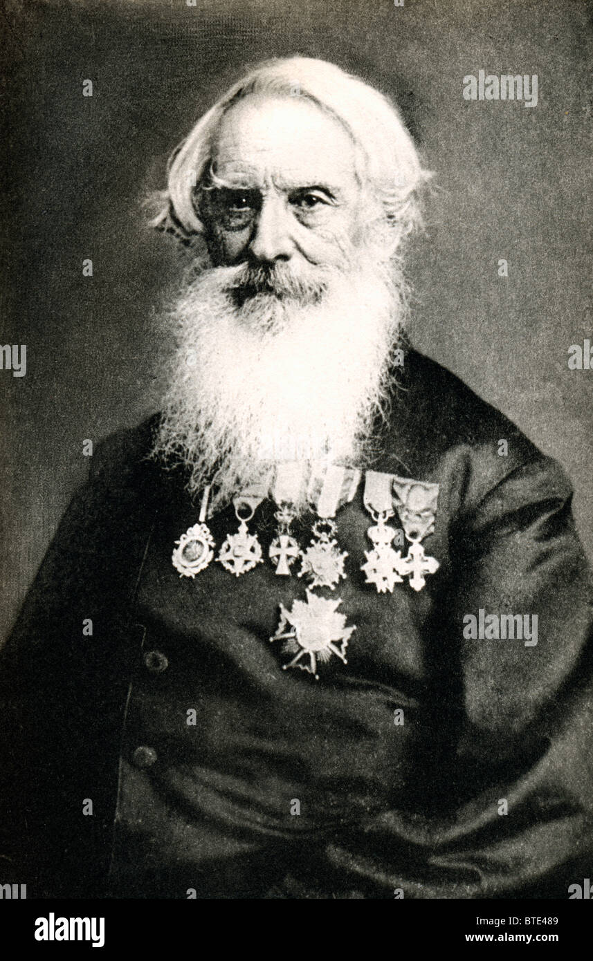 Samuel Morse, the inventor of the Morse Code, in a portrait photograph by Brady with his many medals and decorations - Stock Image