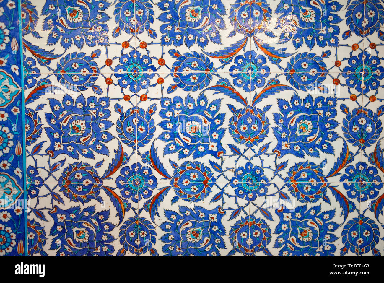 The Yeni mosque Istanbul Turkey. blue ceramic tiles interior details ...