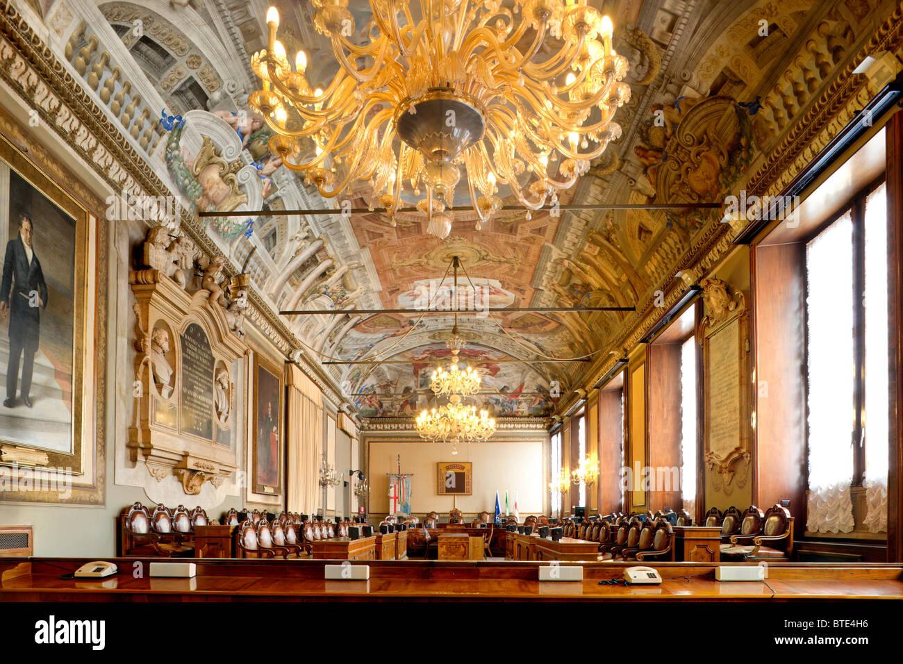 Bologna Sala del Consiglio Comunale - City Council Hall - in Il Palazzo Comunale (Palazzo d'Accursio) - Stock Image