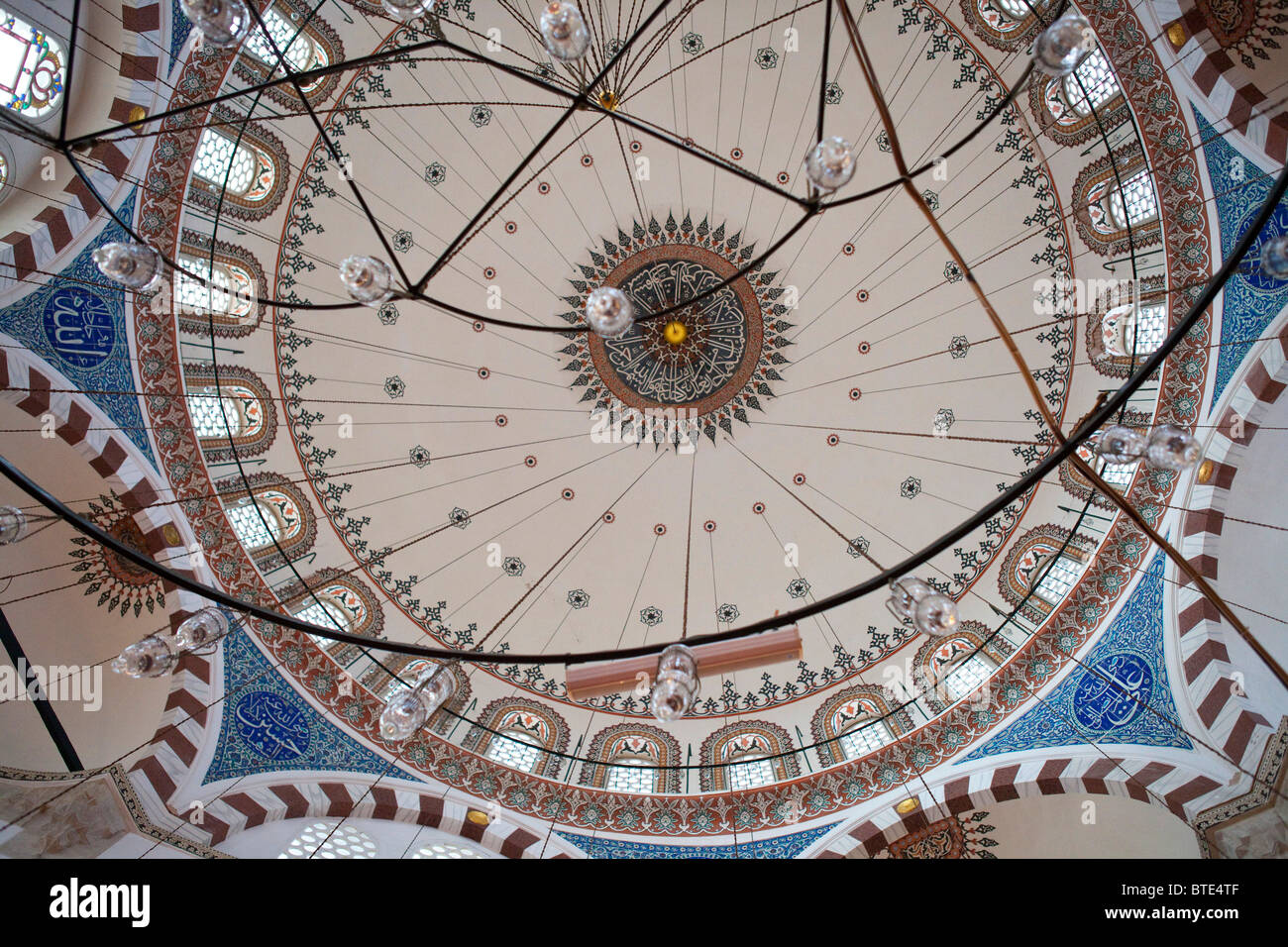 Yeni Mosque Istanbul Turkey Blue Ceramic Tiles Interior Dome