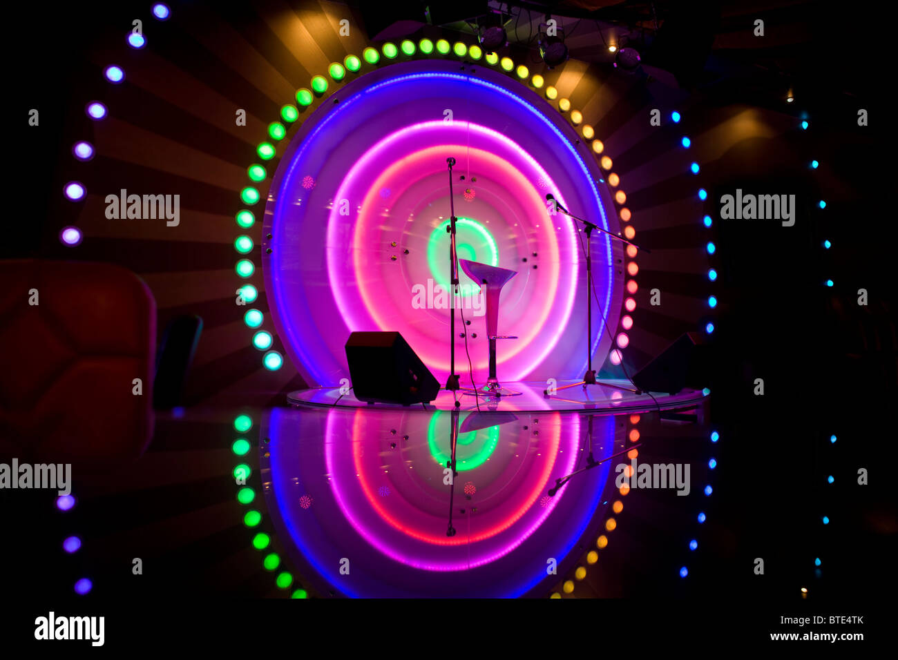 Stage lights - Studio prepared for production and shooting TV show - Stock Image