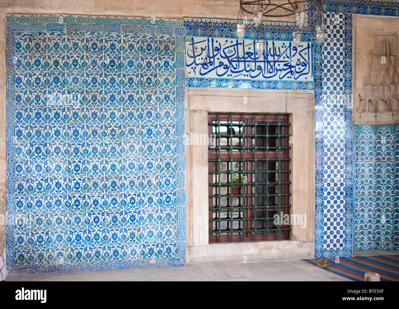 Yeni Mosque Istanbul Turkey. blue ceramic tiles interior details ...