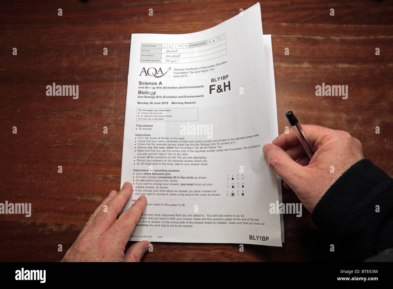 Aqa Examination Board Stock Photos Aqa Examination Board Stock