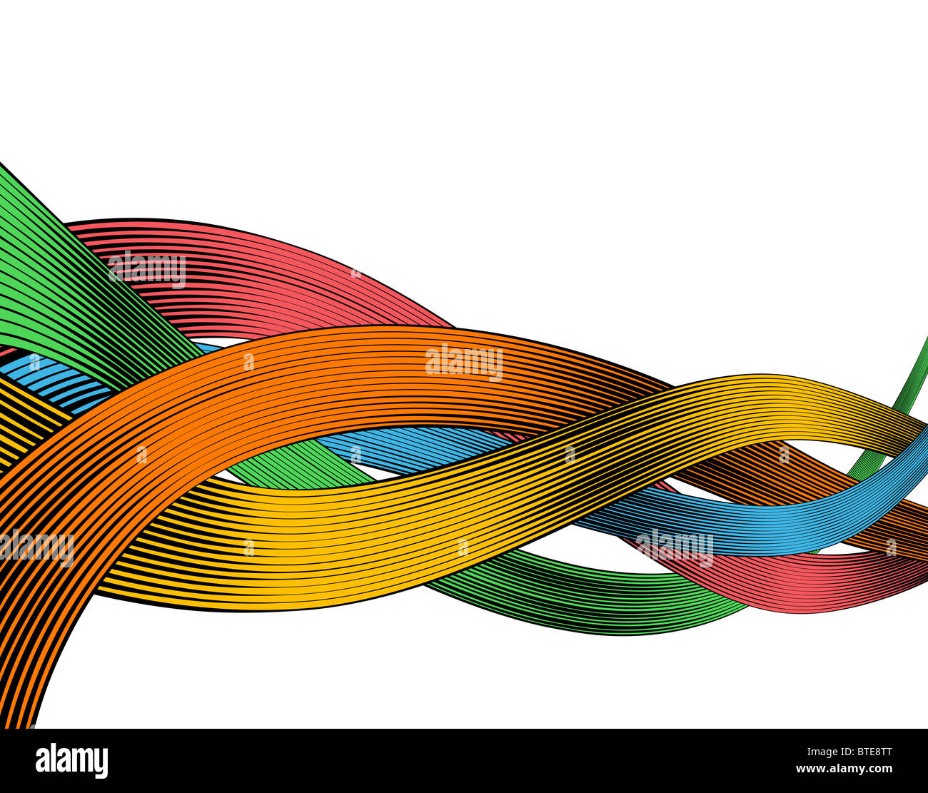 Abstract illustrated design of colorful ribbons in woodcut style - Stock Image
