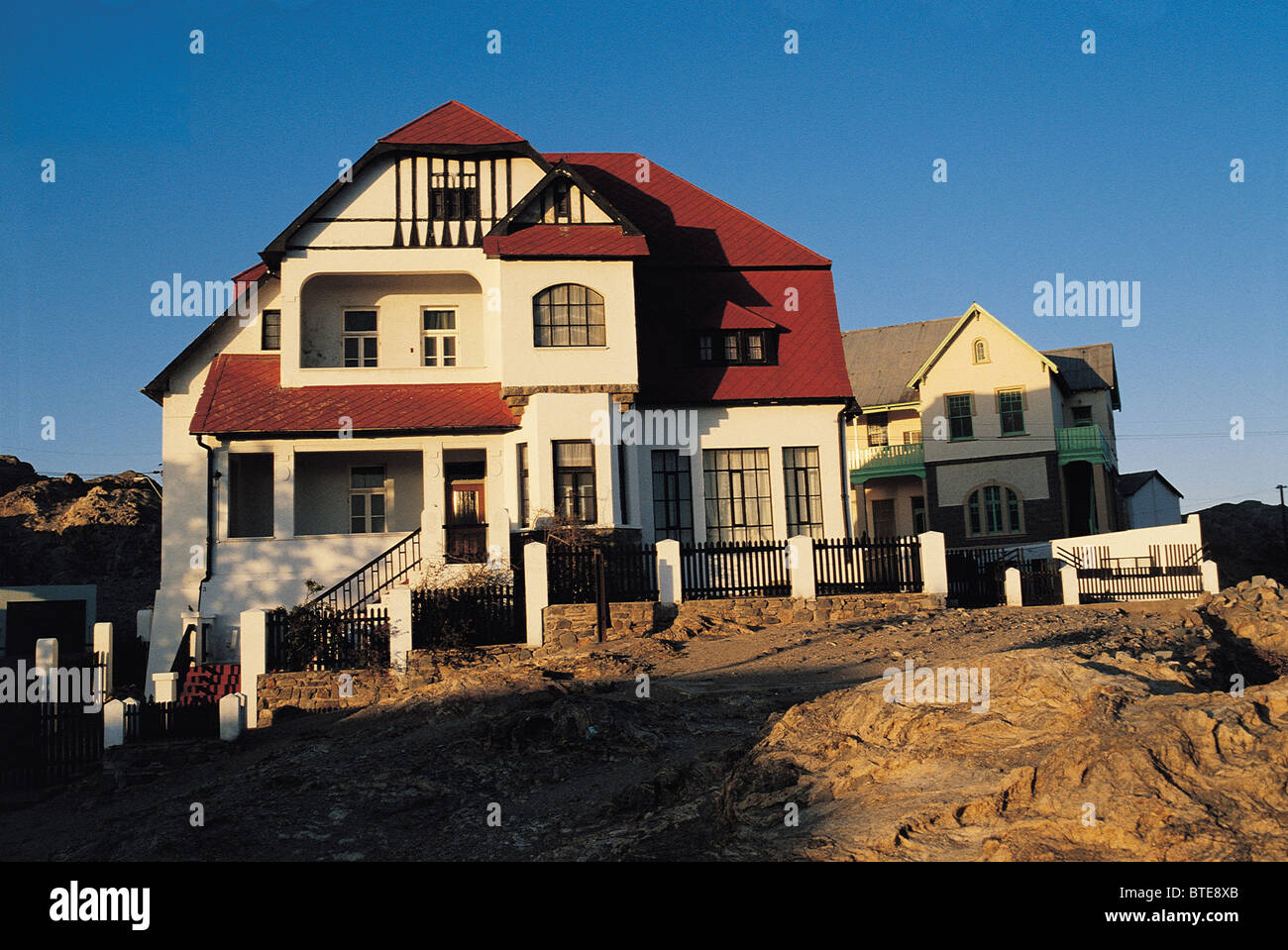 A double storey house in Luderitz - Stock Image