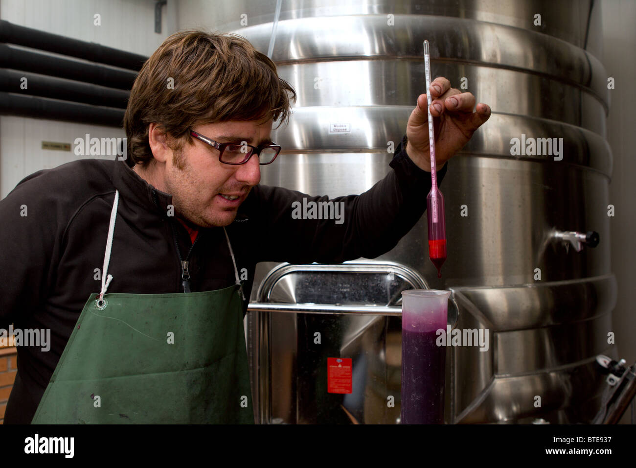 Man using a hydrometer to measure the specific gravity of red wine in a wine making factory in Spain - Stock Image