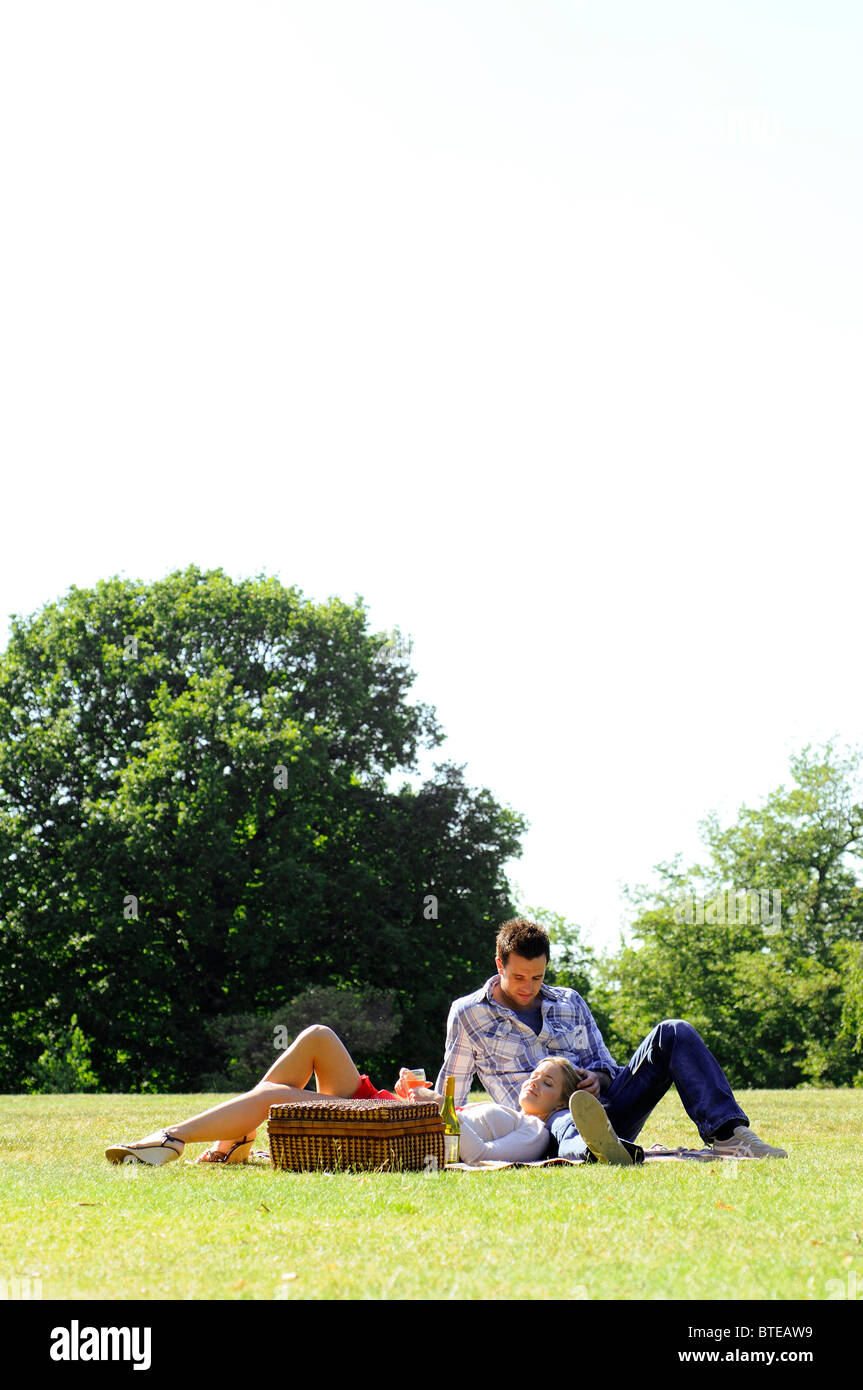 Couple enjoying picnic in park - Stock Image