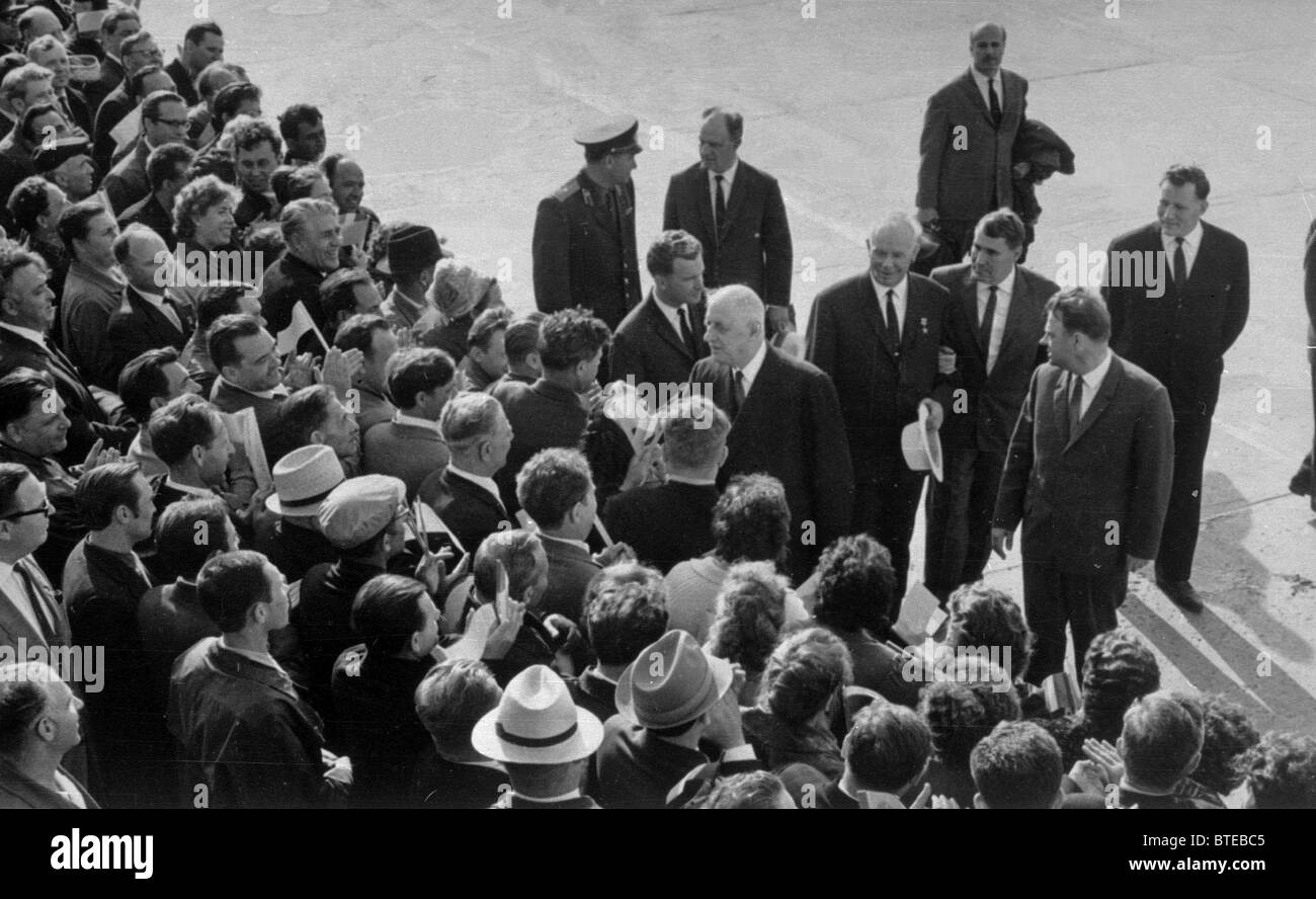 Novosibirsk. French President Charles de Gaulle welcomed at the city's aerodrome. 1966. Stock Photo