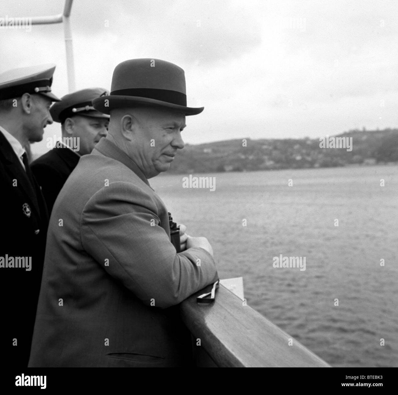 Nikita Khrushchev on board of Armenia motor ship, 1964 - Stock Image