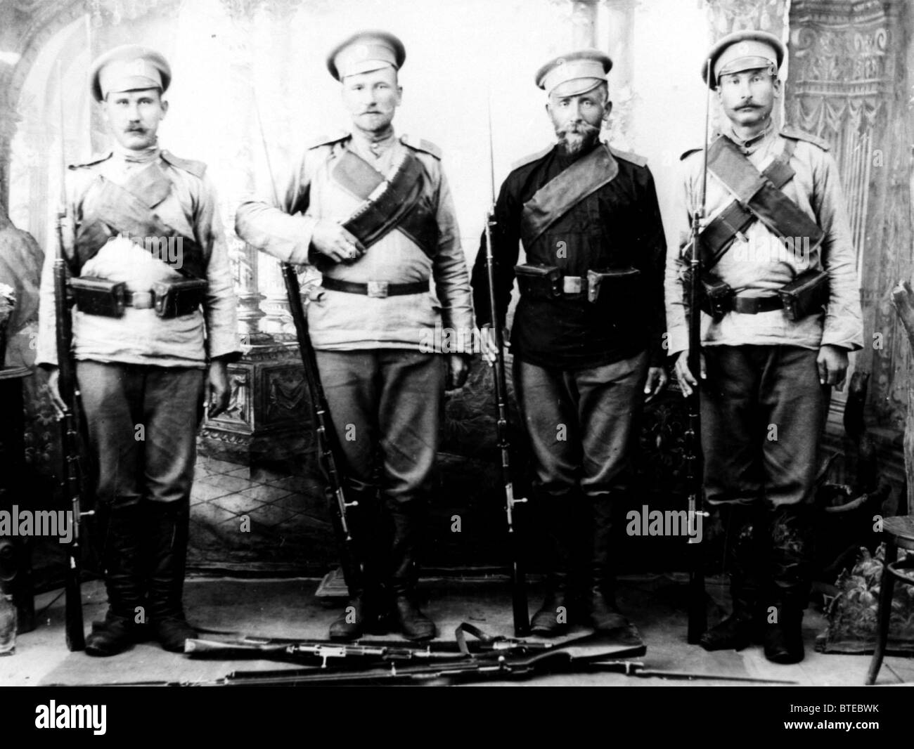 World War I. Russian soldiers. 1914. - Stock Image