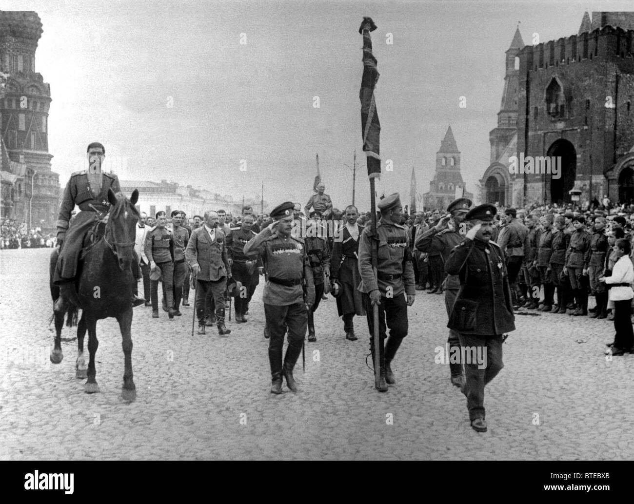 WWI. Russian troops sent to the front. 1917. - Stock Image