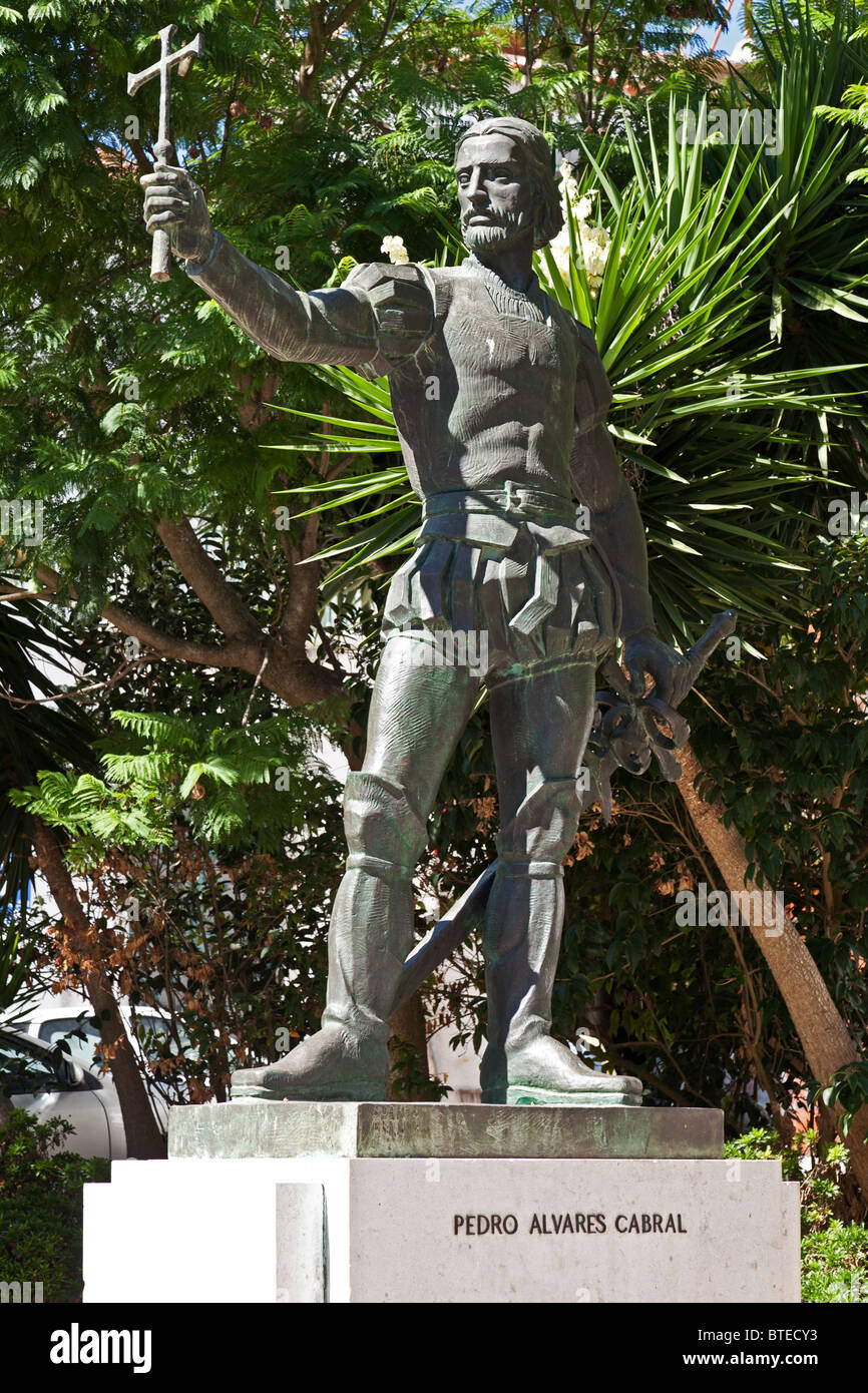 Pedro Alvares Cabral statue, in front of the Graça Church - where the discoverer of Brazil is buried. Santarém, - Stock Image