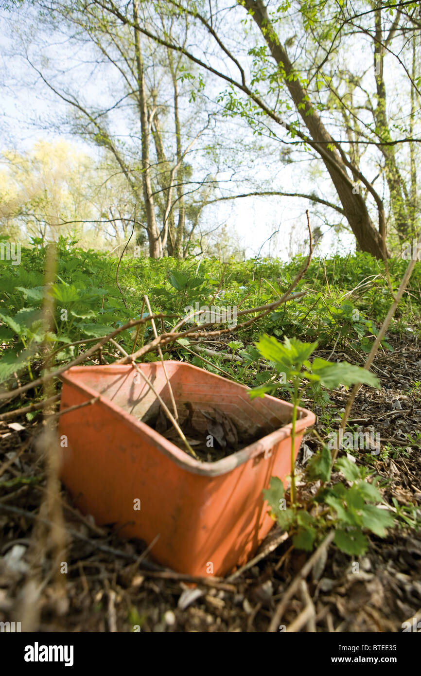 Abandoned bucket outdoors - Stock Image