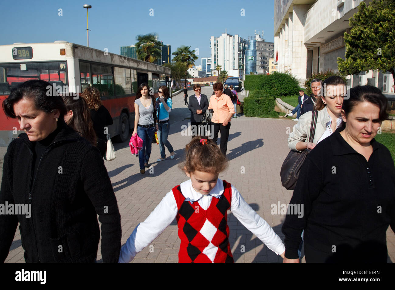 A girl goes to school in Tirana, the capital of Albania. - Stock Image