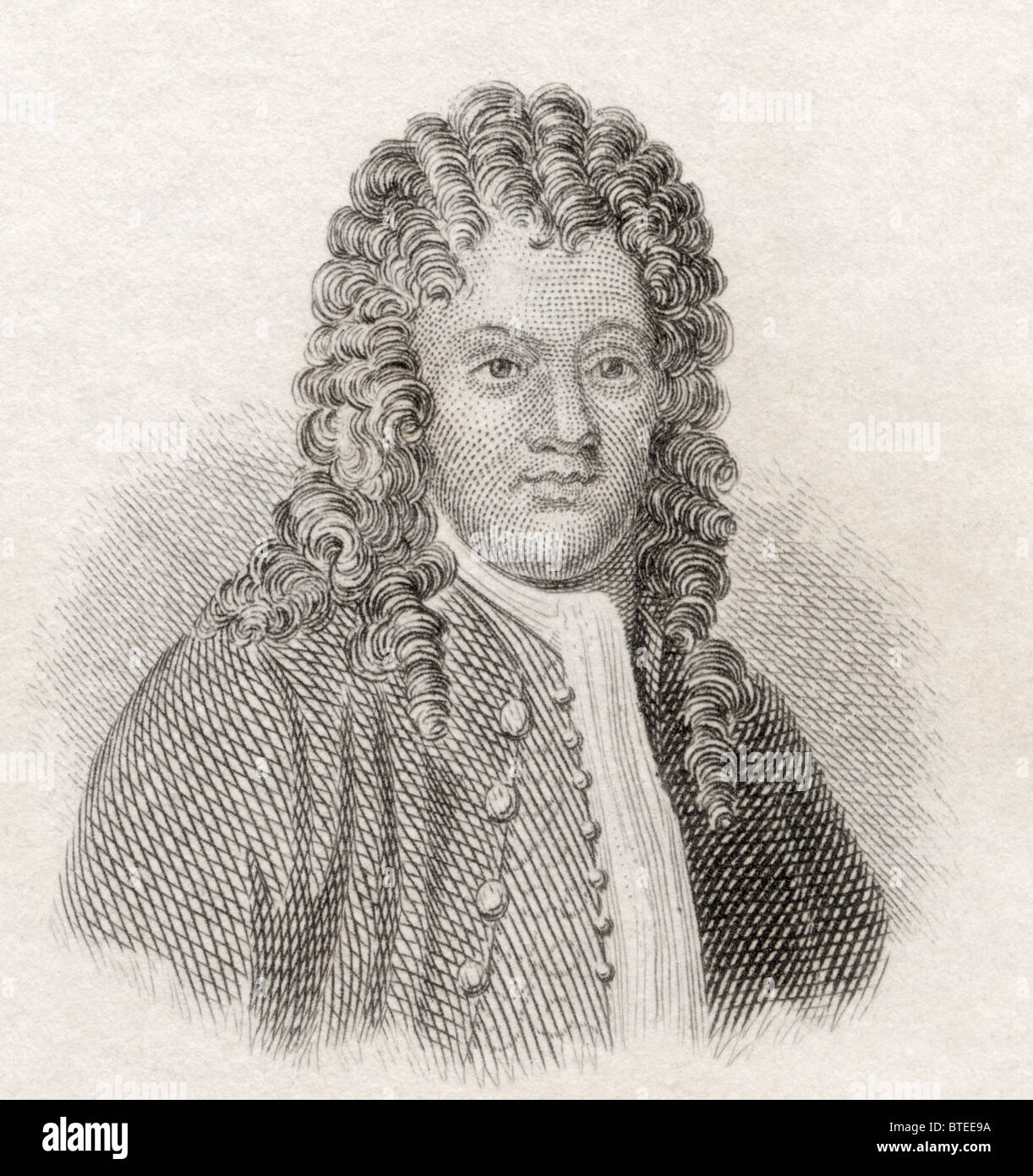 Sir Brook Taylor, 1685 to 1731. English mathematician, best known for Taylor's theorem and the Taylor series. - Stock Image