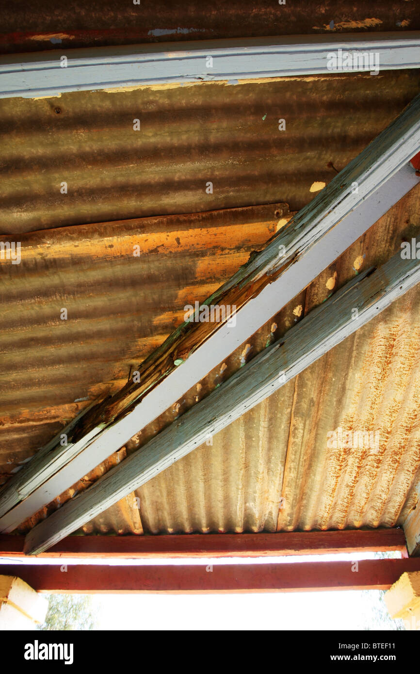 Painted roof beams and corrugated iron roof- Lunsklip Lodge - Stock Image