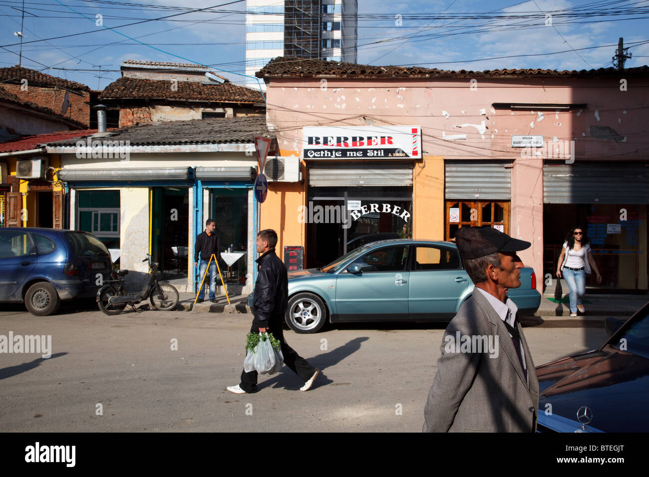 A street scene in Tirana, the capital of Albania. - Stock Image